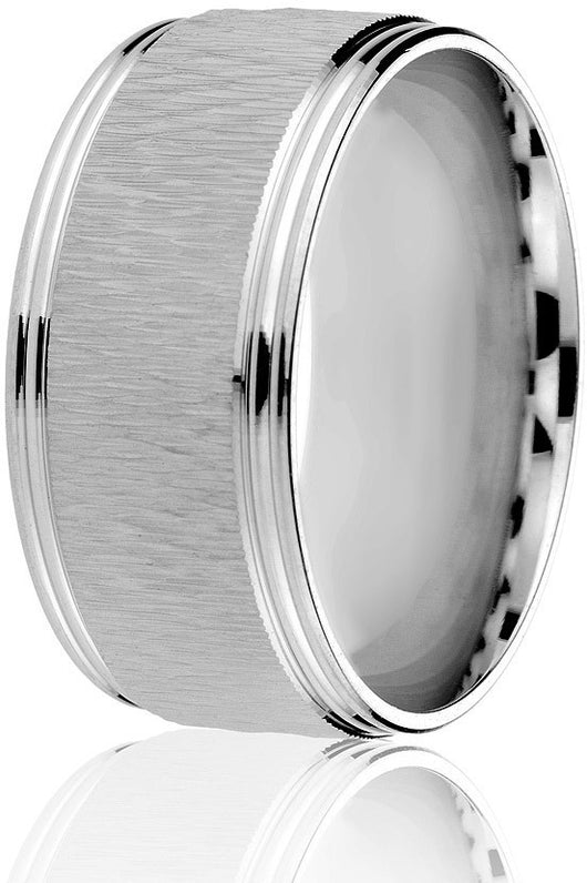 Rugged 10 mm wide engraved textured centre and bright cut edges comfort fit wedding band in 10k white gold.