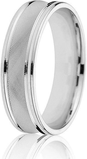 Comfort fit 6mm concave wedding band in 14k white gold with cross-hatch engraving in the centre give this ring a singular look.