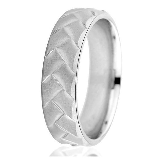 Unique woven look in this 6mm comfort-fit white gold wedding band.