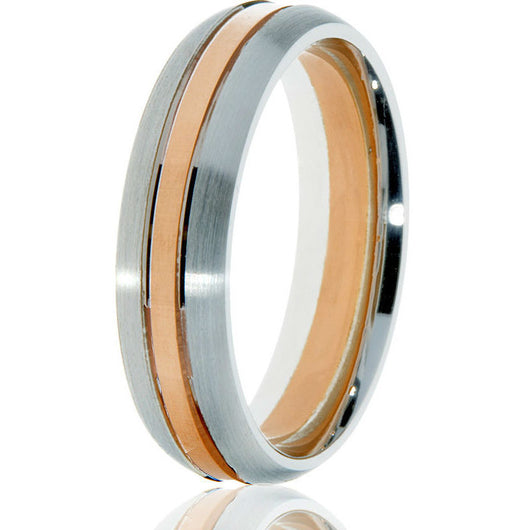 Domed 6mm comfort-fit wedding band featuring arose gold inlay for an exceptional look in 14 rose and white gold.