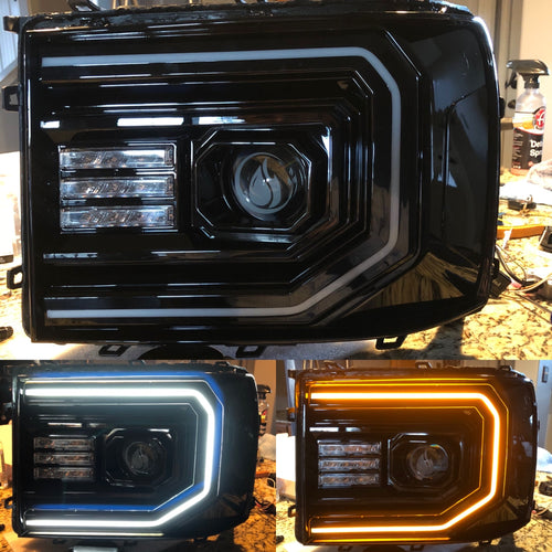 2007-2013 GMC Sierra LED Headlights colormatched Prebuilt