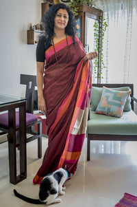 Handwoven Mahogany Coloured Pure Linen Saree with Pink and Orange Border, Linen Saree, Shivnandan Tanti, ihaat, [made_in_india], [handmade] - ihaat