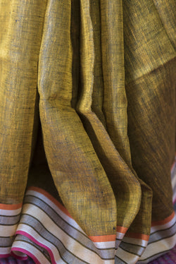 Mustard Coloured Pure Linen Saree with Multicoloured Border, Linen Saree, Shivnandan Tanti, ihaat, [made_in_india], [handmade] - ihaat
