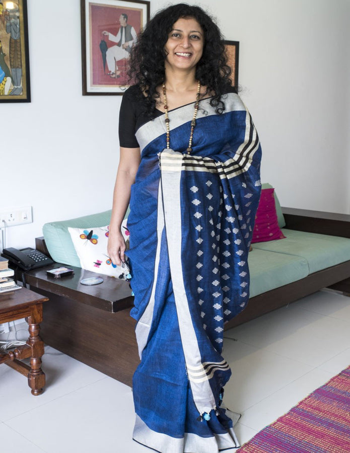Handwoven Blue Linen Saree with Cream Border, Linen Saree, Ganesh Tanti, ihaat, [made_in_india], [handmade] - ihaat