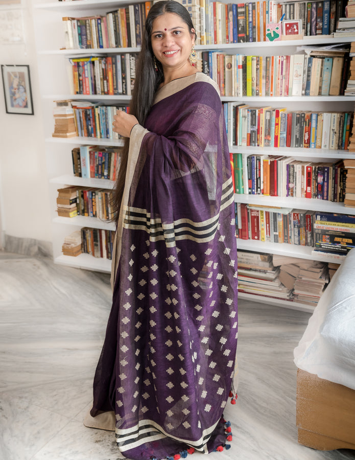 Handwoven Purple Linen Saree with Cream Border, Saree, Ganesh Tanti, ihaat, [made_in_india], [handmade] - ihaat