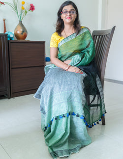 Handwoven Green Linen Saree, Linen Saree, Ganesh Tanti, ihaat, [made_in_india], [handmade] - ihaat