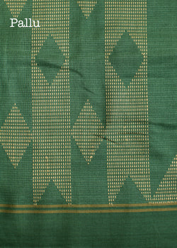 Handwoven Green Tussar Silk Saree, Tussar Silk Saree, iHaat.in, ihaat, [made_in_india], [handmade] - ihaat
