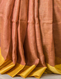 Rust Color Linen Saree, Linen Saree, Shivnandan Tanti, ihaat, [made_in_india], [handmade] - ihaat
