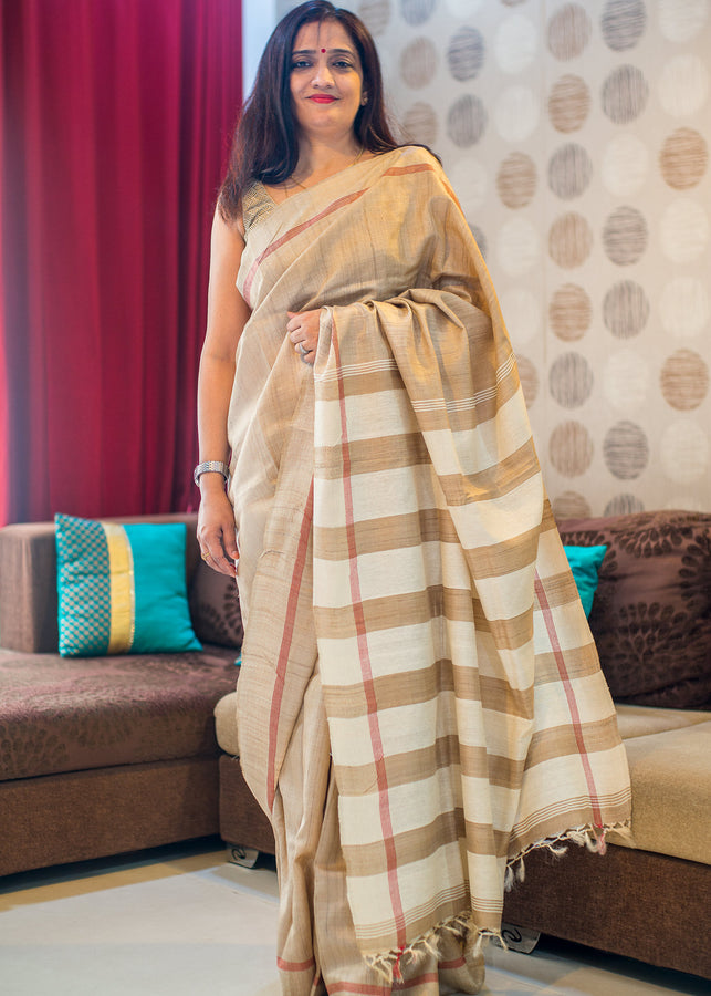 ihaat.in Natural Colour Tussar Silk Saree with Off White Striped Pallu