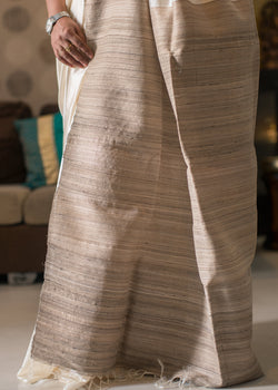 Handwoven Off White Tussar Silk Saree with Raw Silk Pallu, Tussar Silk Saree, iHaat.in, ihaat, [made_in_india], [handmade] - ihaat