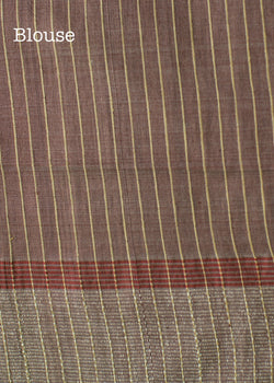 Handwoven Natural Colour Tussar Silk Saree with Medium Burgundy Striped Pallu, Tussar Silk Saree, iHaat.in, ihaat, [made_in_india], [handmade] - ihaat