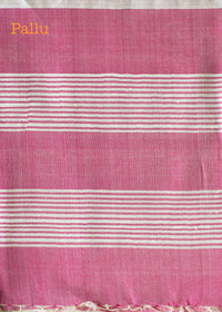Handwoven Cream Tusser Silk Saree with Fuchsia Pallu, Tussar Silk Saree, iHaat.in, ihaat, [made_in_india], [handmade] - ihaat