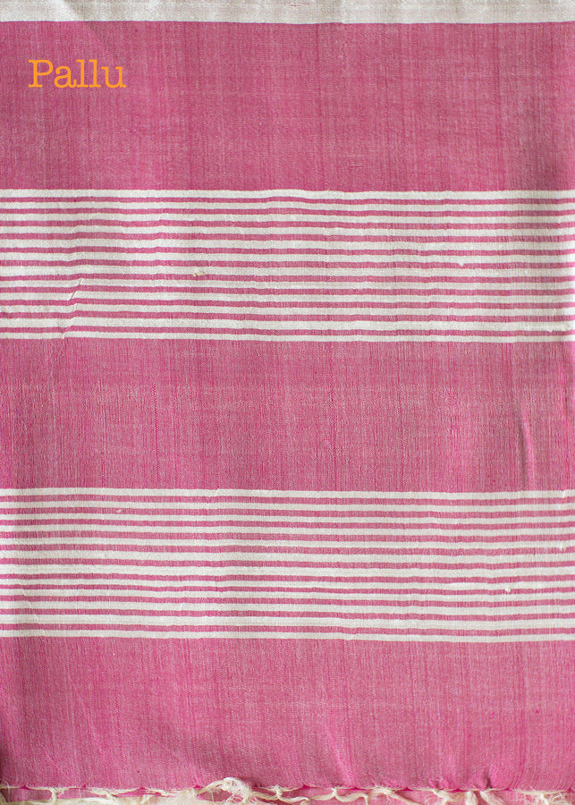 IHAAT.IN Handwoven off white Tusser Saree with fuchsia pallu