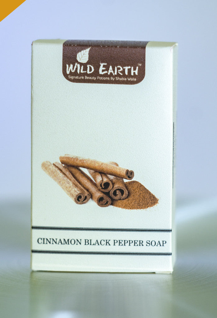 Wild Earth Cinnamon Black Pepper Soap (Set of 3), Natural Soap/Bathing Bar, Wild Earth, ihaat, [made_in_india], [handmade] - ihaat