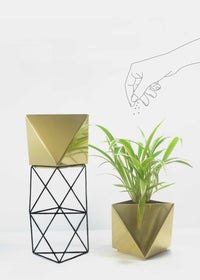 Deniable Studio Octahedron Brass Planter - Large, , Deniable Studio, ihaat, [made_in_india], [handmade] - ihaat