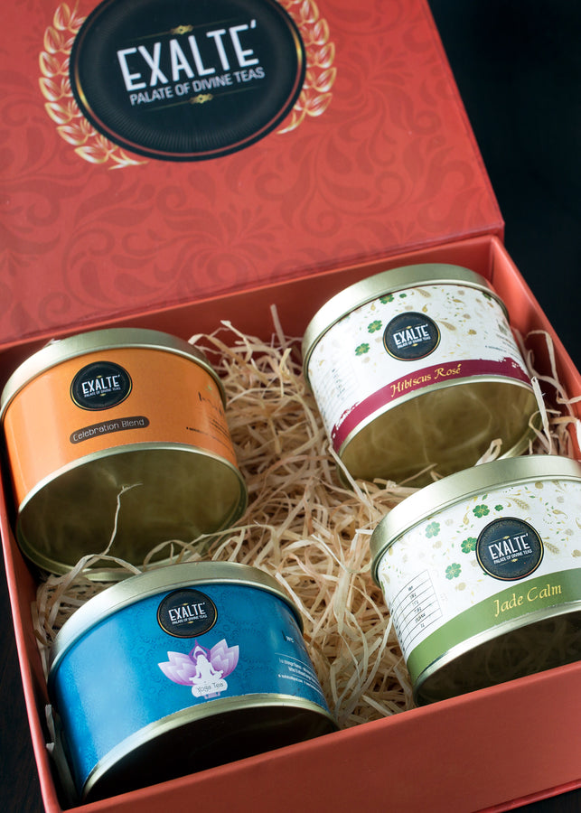 Exalté Festive Orange Gift Box, Tea, Exalté, ihaat, [made_in_india], [handmade] - ihaat