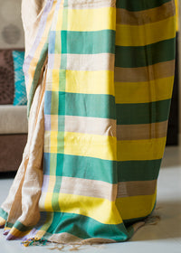 Handwoven Natural Colour Tussar Silk Saree with Yellow  Green Striped Pallu, Tussar Silk Saree, iHaat.in, ihaat, [made_in_india], [handmade] - ihaat