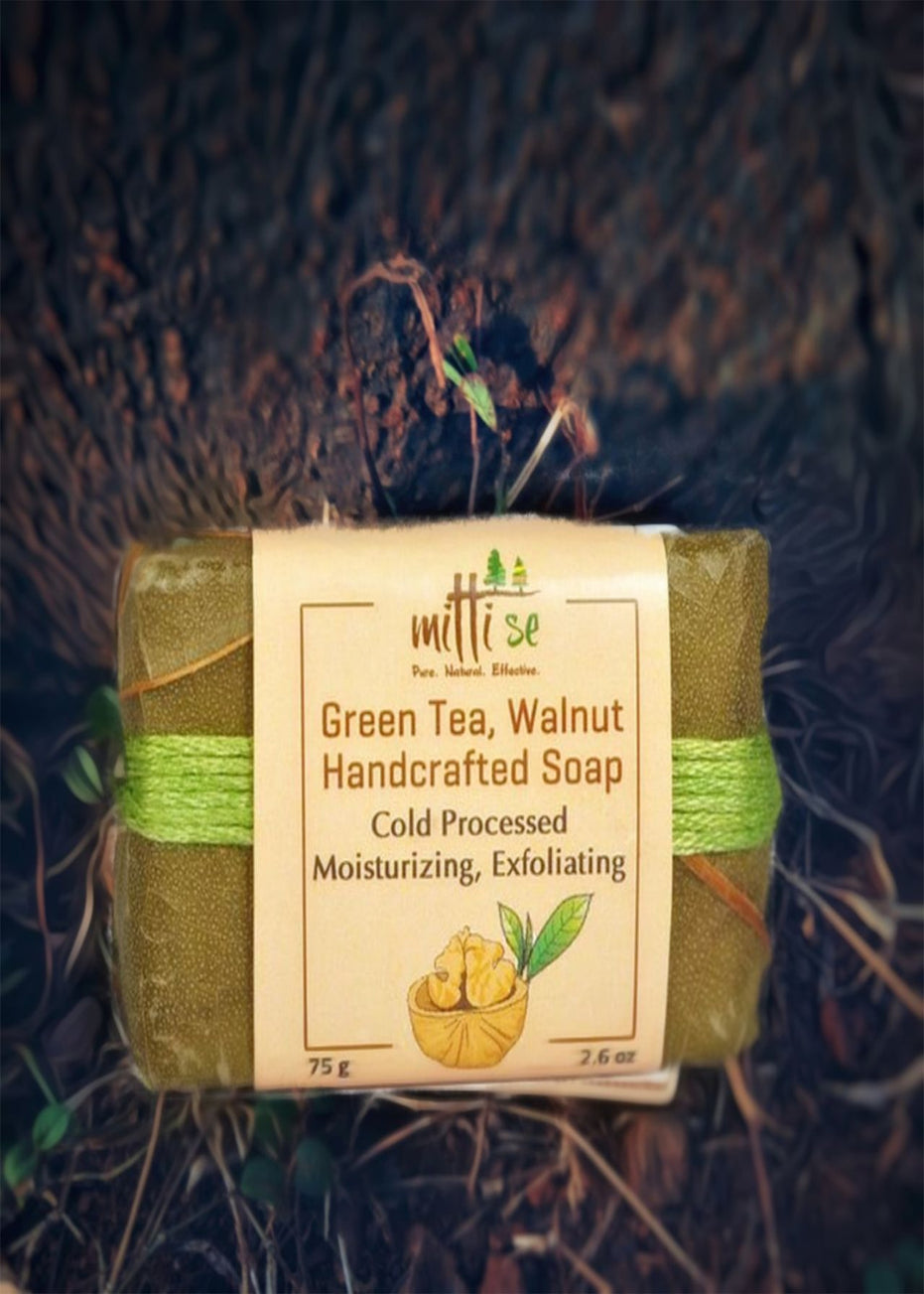 Mitti Se Green Tea & Walnut Soap, Body Care, Soap, Mitti Se, ihaat, [made_in_india], [handmade] - ihaat