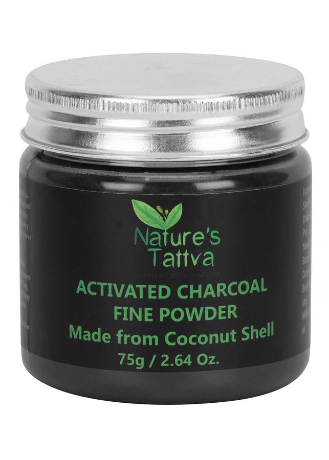 Nature's Tattva Activated Charcoal Fine Powder- 75gm, Beauty & Skin Care, Nature's Tattva, ihaat, [made_in_india], [handmade] - ihaat