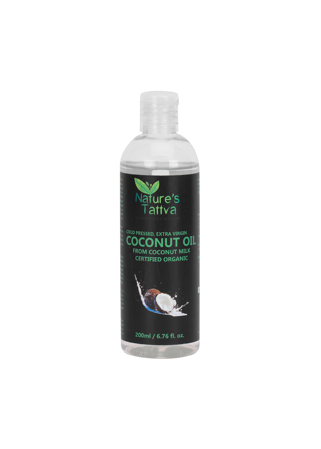 Nature's Tattva Certified Organic Extra Virgin Coconut Oil For Hair & Skin Made from Coconut Milk of Coconuts, 200ml, Hair Oil, Nature's Tattva, ihaat, [made_in_india], [handmade] - ihaat