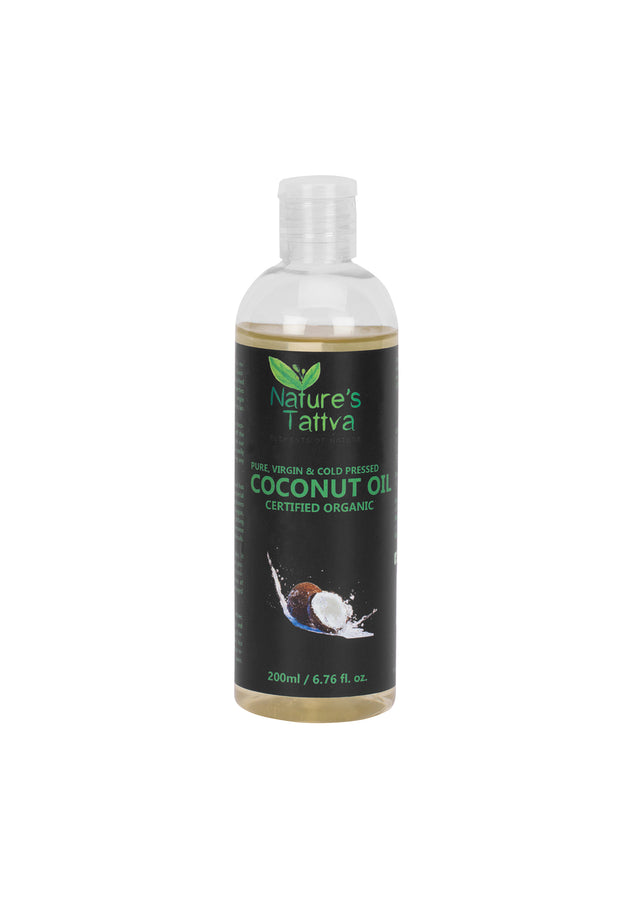Nature's Tattva Virgin Certified Organic Coconut Oil For Skin & Hair, Cold Pressed from Kerala, 200ml, Beauty & Skin Care, Nature's Tattva, ihaat, [made_in_india], [handmade] - ihaat