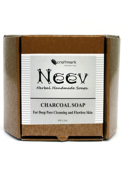 Neev Charcoal Soap For Deep Pore Cleansing And Flawless Skin, handmade soap, Neev Herbal Handmade Soaps, ihaat, [made_in_india], [handmade] - ihaat