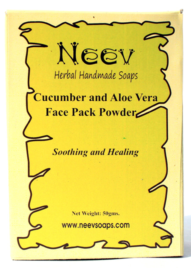 Neev Cucumber And Aloe Vera Face Pack Powder Soothing And Healing, Face Pack, Neev Herbal Handmade Soaps, ihaat, [made_in_india], [handmade] - ihaat