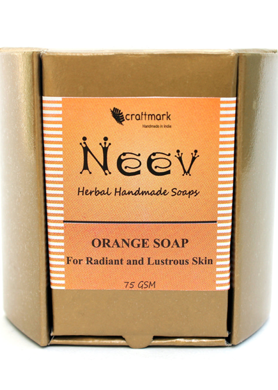Neev Orange Soap For Radiant And Lustrous Skin, handmade soap, Neev Herbal Handmade Soaps, ihaat, [made_in_india], [handmade] - ihaat