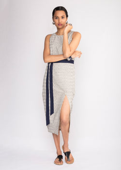 Tamasq Starry Night Long Ikat Kantha Dress, Dress, Tamasq, ihaat, [made_in_india], [handmade] - ihaat