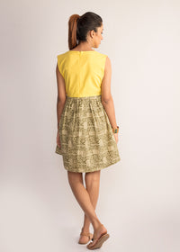 Tamasq Sunshine Flared Bagru Dress, Dress, Tamasq, ihaat, [made_in_india], [handmade] - ihaat