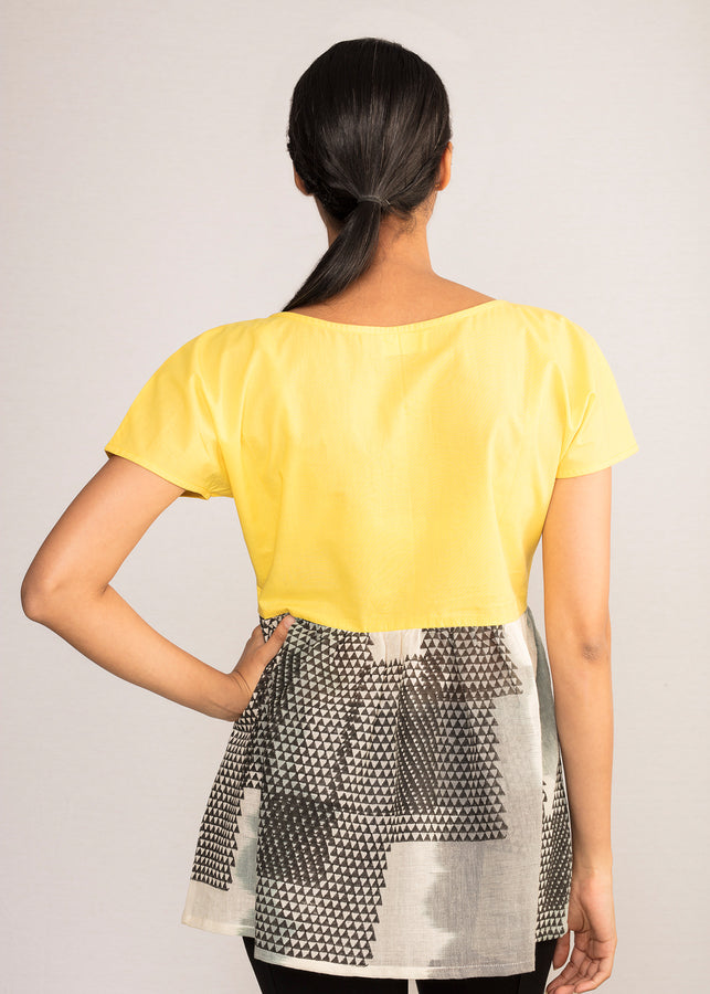 Tamasq The Astral Dropped Shoulder Mustard Top, Top, Tamasq, ihaat, [made_in_india], [handmade] - ihaat