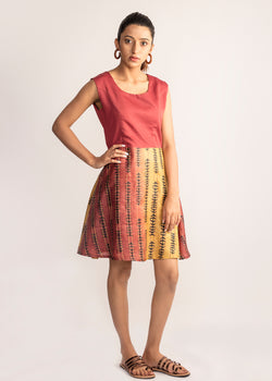 Tamasq The Dusky Skater Tusser Silk Dress, Dress, Tamasq, ihaat, [made_in_india], [handmade] - ihaat