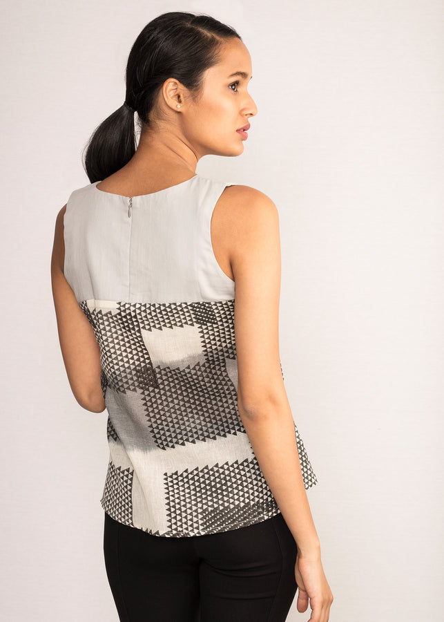 Tamasq The Eclipse Sleeveless Ikat Top, Top, Tamasq, ihaat, [made_in_india], [handmade] - ihaat