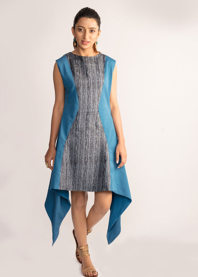 Tamasq The Eventide Asymmetrical Tusser Dress, Dress, Tamasq, ihaat, [made_in_india], [handmade] - ihaat