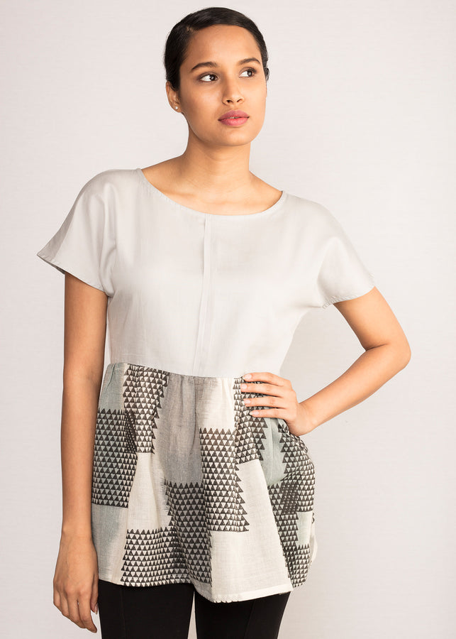 Tamasq The Lunar Dropped Shoulder Grey Top, Top, Tamasq, ihaat, [made_in_india], [handmade] - ihaat