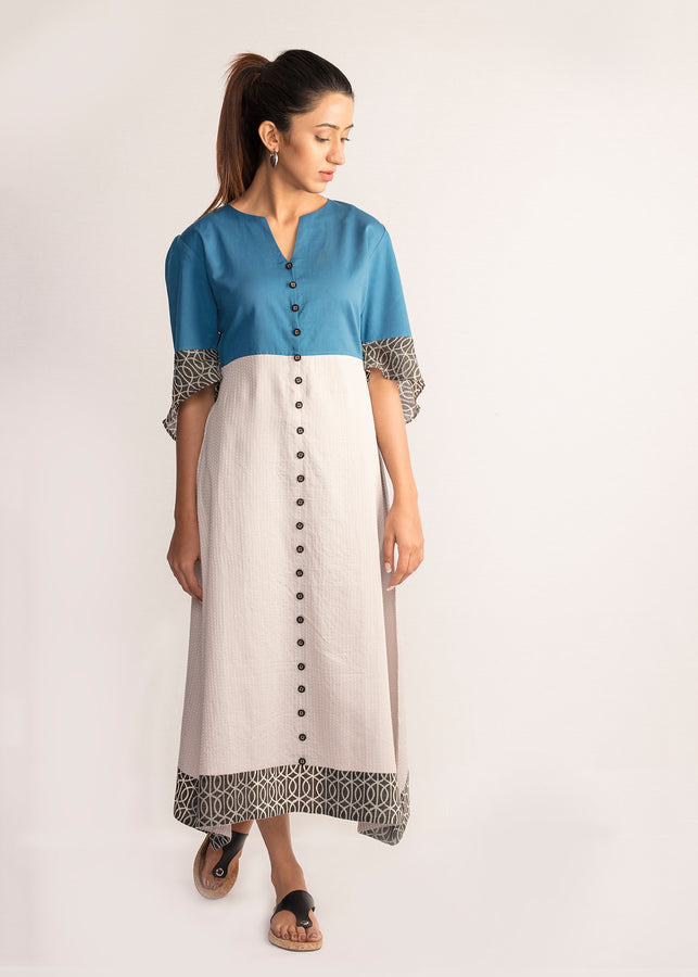 Tamasq The New Moon Midi Ikat Kanta Dress, Dress, Tamasq, ihaat, [made_in_india], [handmade] - ihaat
