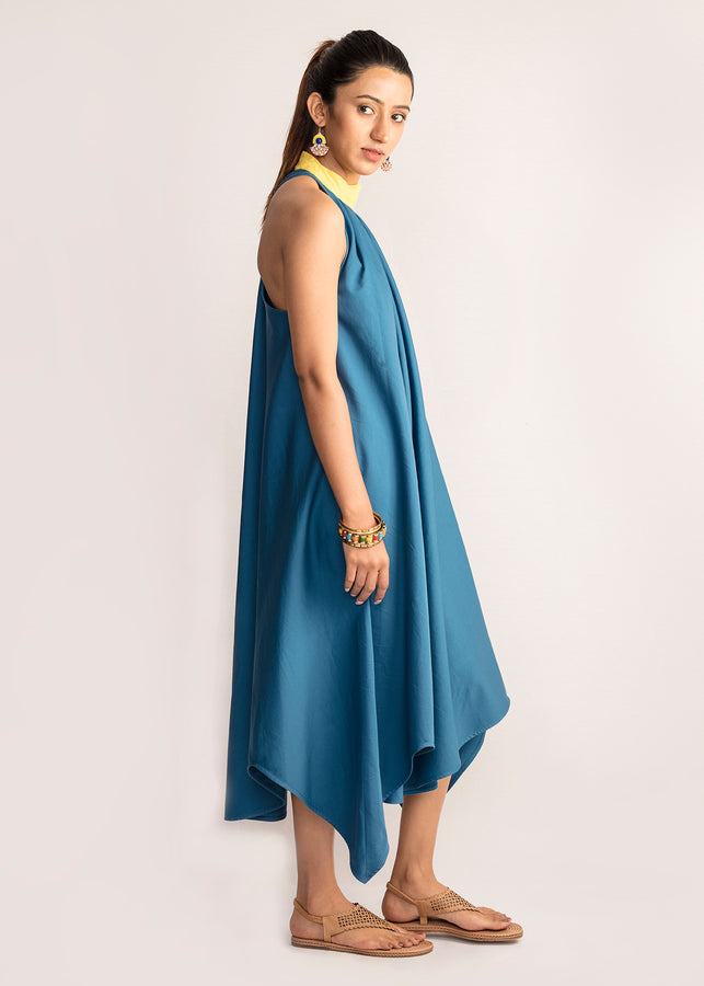 Tamasq The Nocturnal Asymmetrical Organic Cotton Dress, Dress, Tamasq, ihaat, [made_in_india], [handmade] - ihaat