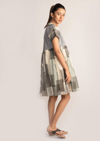 Tamasq The Shadow Knee Length Ikat Dress, Dress, Tamasq, ihaat, [made_in_india], [handmade] - ihaat