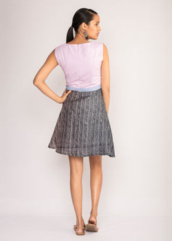 Tamasq The Violet Skater Tusser Silk Dress, Dress, Tamasq, ihaat, [made_in_india], [handmade] - ihaat