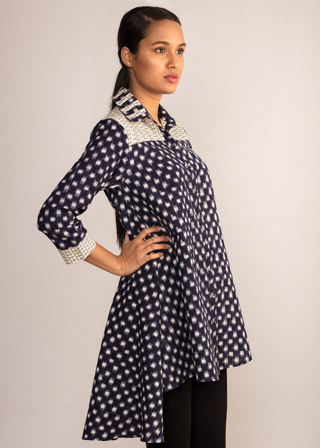 Tamasq Twilight Shirt Tunic Ikat, Tunic, Tamasq, ihaat, [made_in_india], [handmade] - ihaat