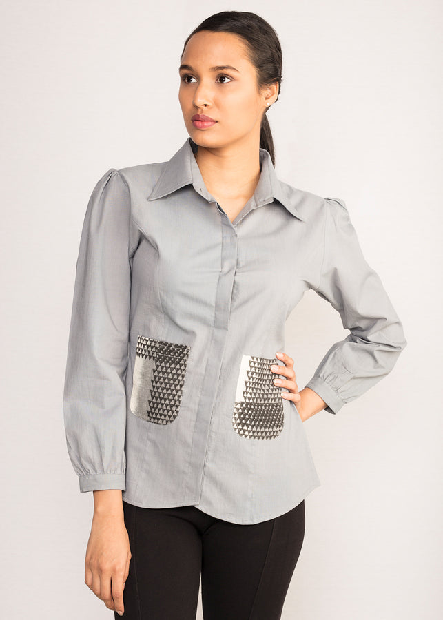 Tamasq the Celestial Shirt Patch Pocket Top, Top, Tamasq, ihaat, [made_in_india], [handmade] - ihaat