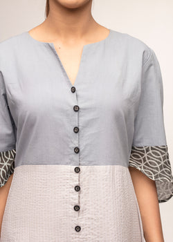 Tamasq the Demilune Midi Ikat Grey Dress, Dress, Tamasq, ihaat, [made_in_india], [handmade] - ihaat