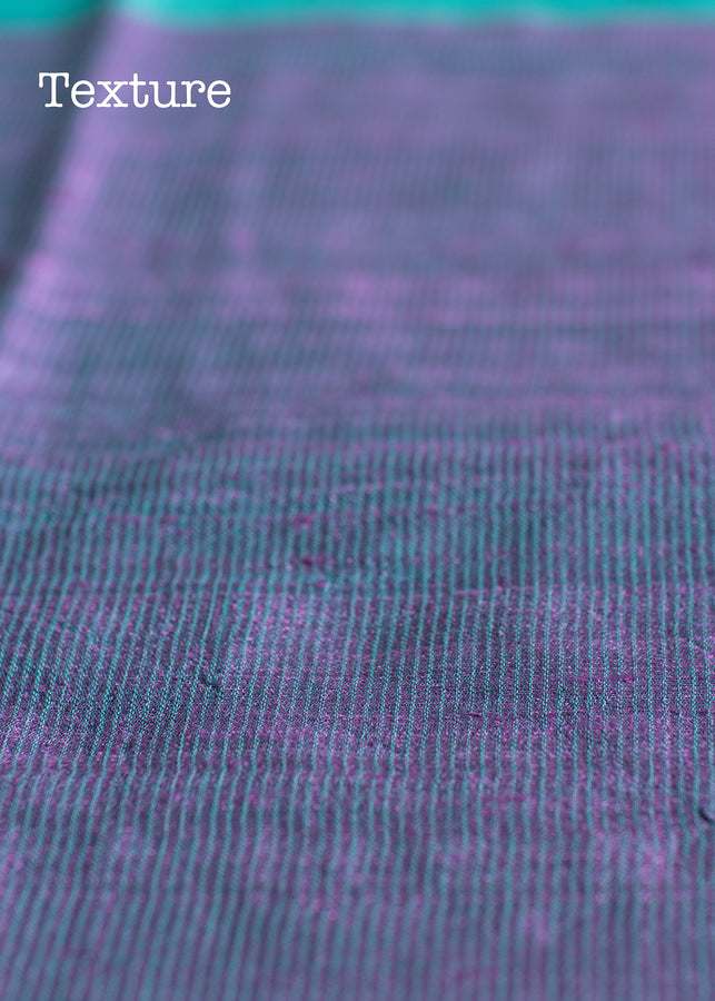 Handwoven Violet Tussar Silk Saree with Teal Colour Pallu, Tussar Saree, iHaat.in, ihaat, [made_in_india], [handmade] - ihaat