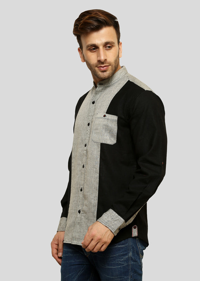 Wadaj Khadi Ash Grey Kurta Itish Shirt, Men Shirts, Wadaj Khadi, ihaat, [made_in_india], [handmade] - ihaat