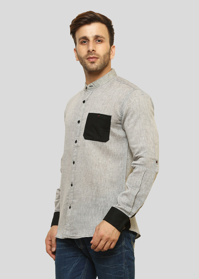 Wadaj Khadi Ash Grey Kurta Daksha Shirt, Men Shirts, Wadaj Khadi, ihaat, [made_in_india], [handmade] - ihaat