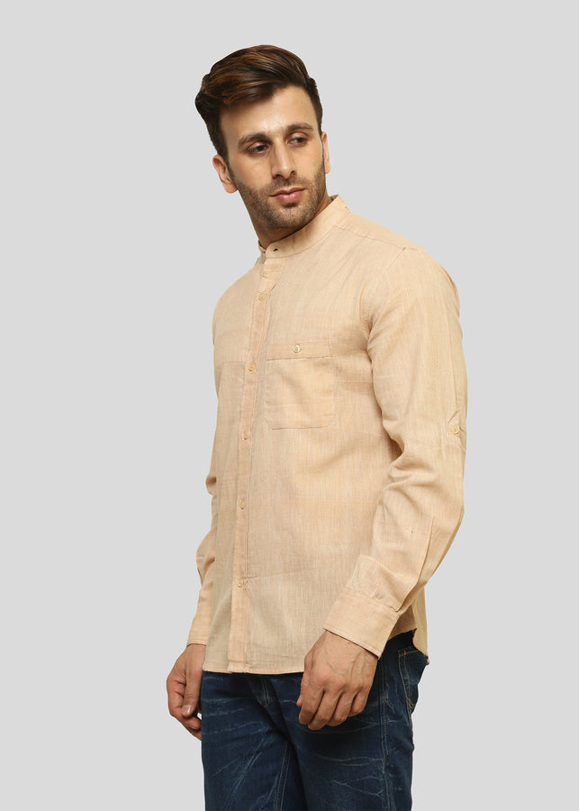Wadaj 100% Khadi Beige Atulya Kurta Shirt, Men Shirts, Wadaj Khadi, ihaat, [made_in_india], [handmade] - ihaat