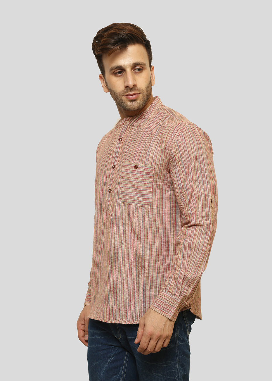 Wadaj Khadi Beige Darsh Kurta Shirt, Men Shirts, Wadaj Khadi, ihaat, [made_in_india], [handmade] - ihaat