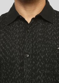 Wadaj Khadi Black Jatasya Kurta Shirt, Men Shirts, Wadaj Khadi, ihaat, [made_in_india], [handmade] - ihaat