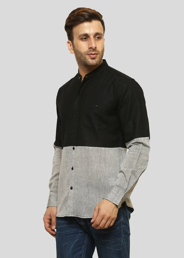 Wadaj Khadi Black Kurta Agrata Shirt, Men Shirts, Wadaj Khadi, ihaat, [made_in_india], [handmade] - ihaat