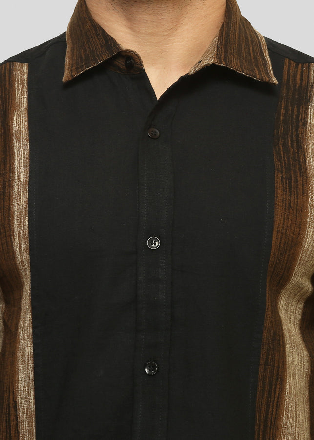 Wadaj Khadi Black Harit Kurta Shirt, Men Shirts, Wadaj Khadi, ihaat, [made_in_india], [handmade] - ihaat